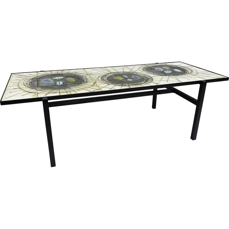 Vintage painted Ceramic Coffee Table from Belarti 1960