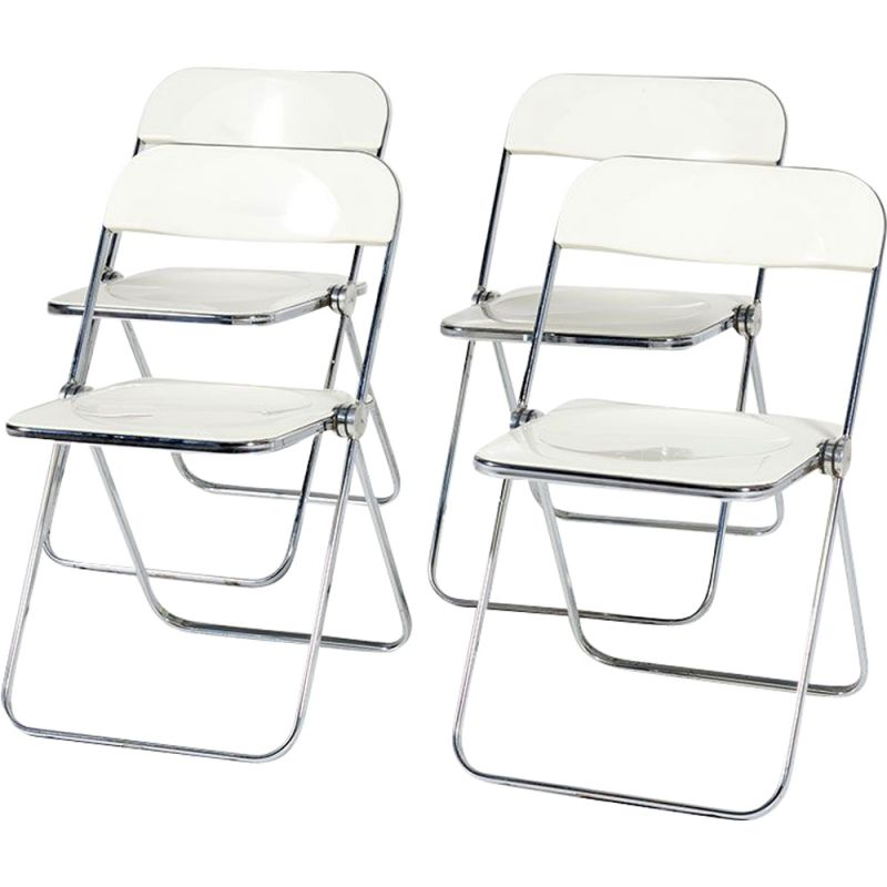 Set of 4 vintage Plia White Folding Chairs by Giancarlo Piretti for Castelli, 1960s