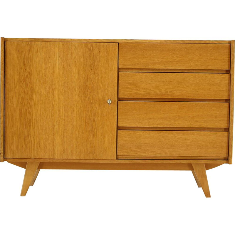 Vintage oak wood chest of drawers by Jiří Jiroutek, Czechoslovakia, 1960s