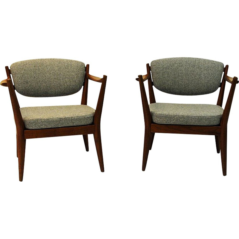 "Set of 2 vintage teak ""kaminstol"" armchairs by Kayser & Relling, Norway 1950s"