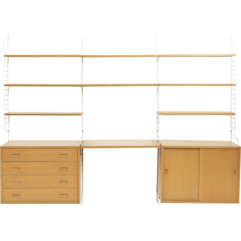 Vintage wall shelves system in ash by Nisse Strinning, Sweden, 1950s