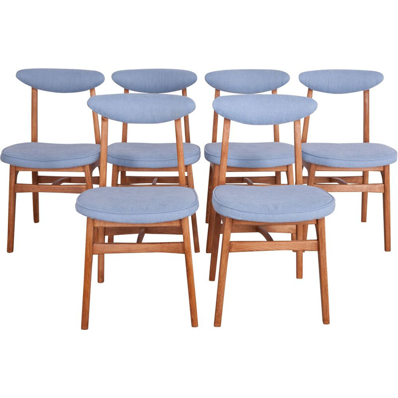 Set of 6 vintage dining chairs Model 200 190 by R. T. Hałas, 1960s