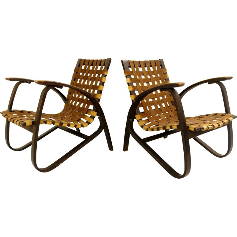 Set of 2 vintage wooden armchairs by Jan Vanek for UP Z-vody, 1930s