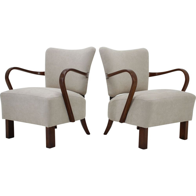 Set of 2 vintage beech wood armchairs by Jindrich Halabala, 1950s