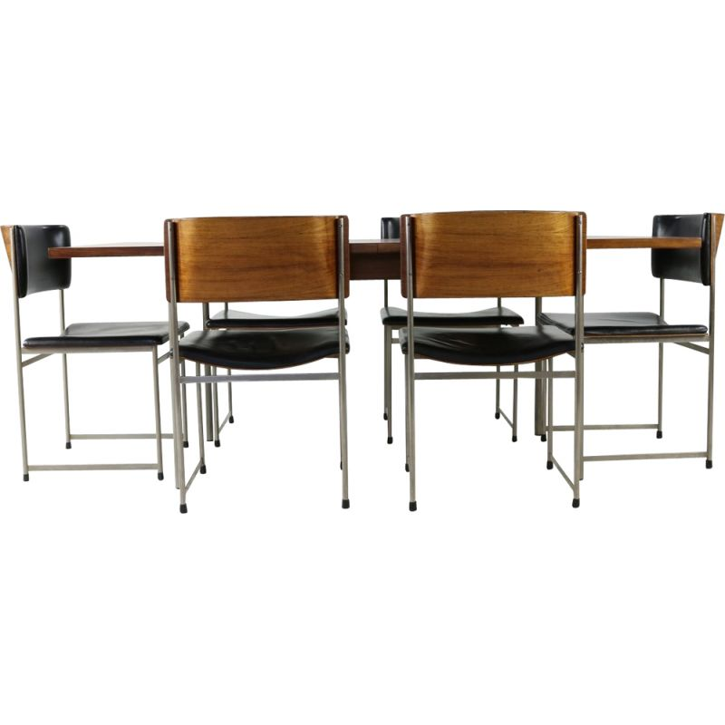 Vintage rosewood dining set by Cees Braakman from UMS Pastoe Holland