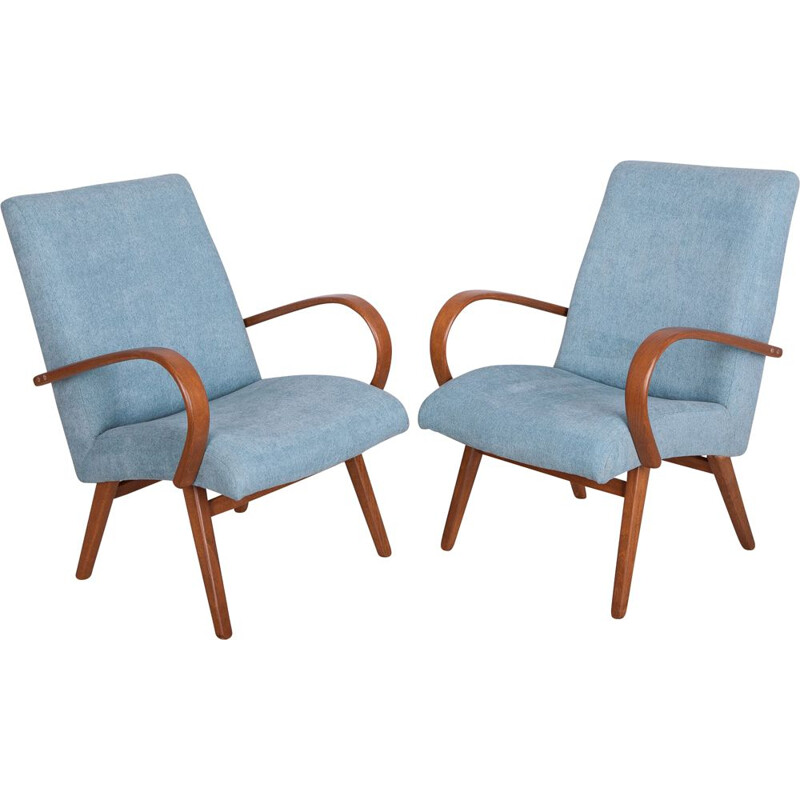 Set of 2 vintage Model 53 Lounge Chairs by Jaroslav Smidek for TON, 1960