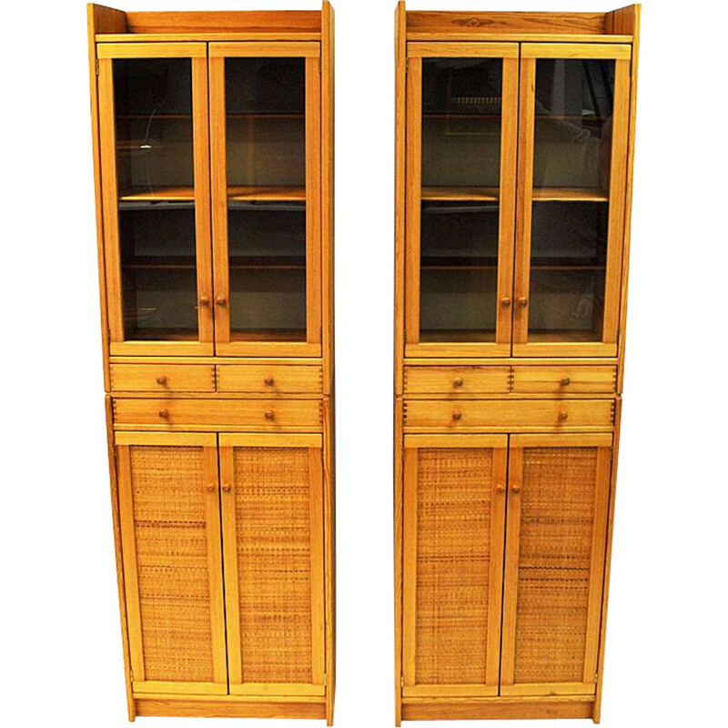 "Pair of vintage Pine cupboards ""Furubo"" by Yngve Ekström 1970"