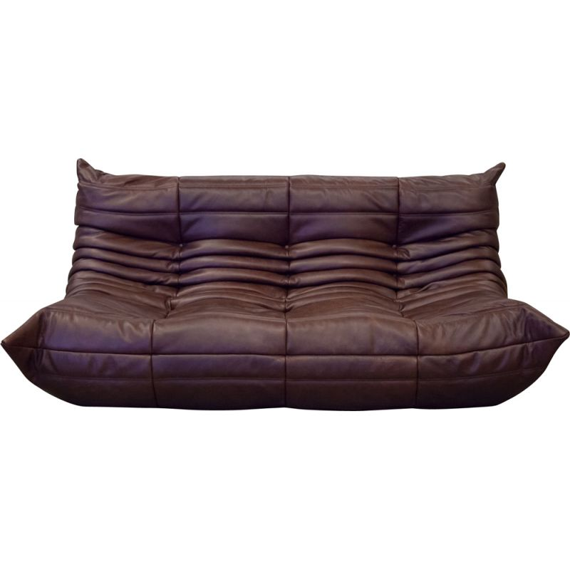 Vintage 3-seater sofa Togo for Ligne Roset in chocolate brown leather 1970