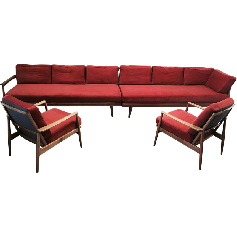 A modular set vintage of 2 sofas and 2 armchairs 1950