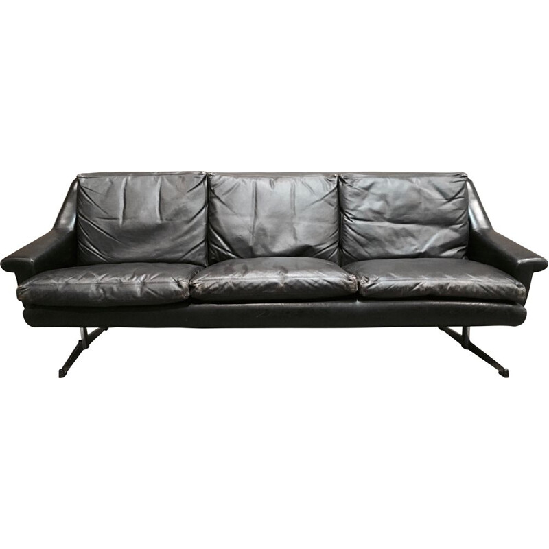 Vintage 3-seater black sofa made entirely of leather and chrome 1950