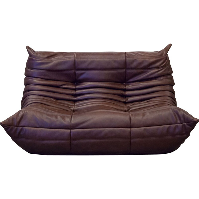 Vintage 2-seater Togo sofa for Ligne Roset in chocolate brown leather 1970