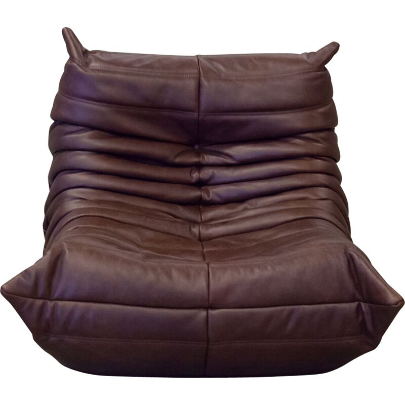 Vintage Togo armchair for Ligne Roset in chocolate brown leather 1970