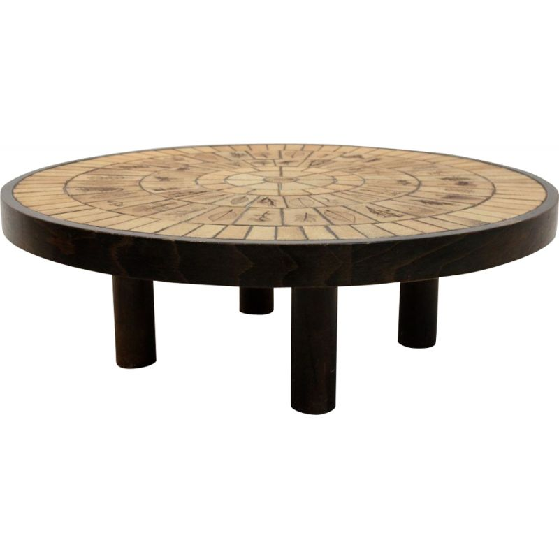 Ceramic tiled and oak wood Artwork vintage coffee table by Roger Capron, 1970s