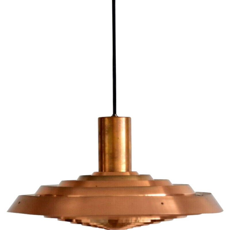 Copper vintage pendant light by Poul Henningsen for Louis Poulsen, 1960s