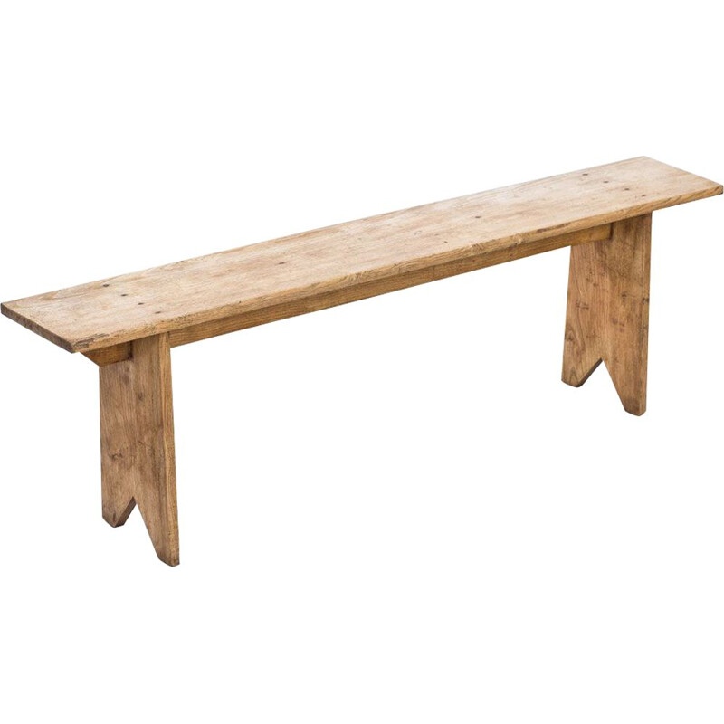 Rustic oak french vintage Bench, 1940s