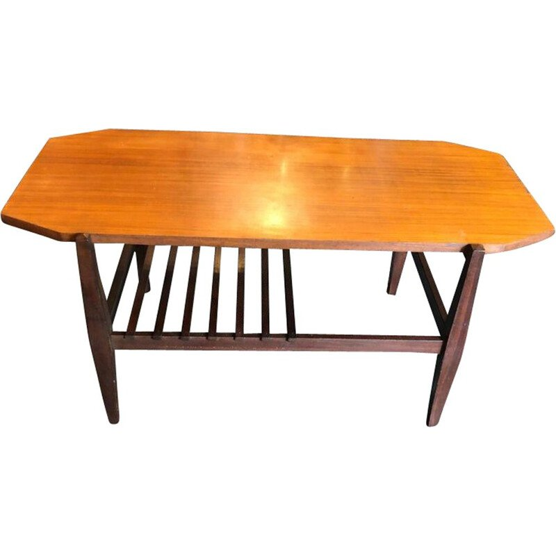 Italian wood octagonal vintage coffee table, 1960s