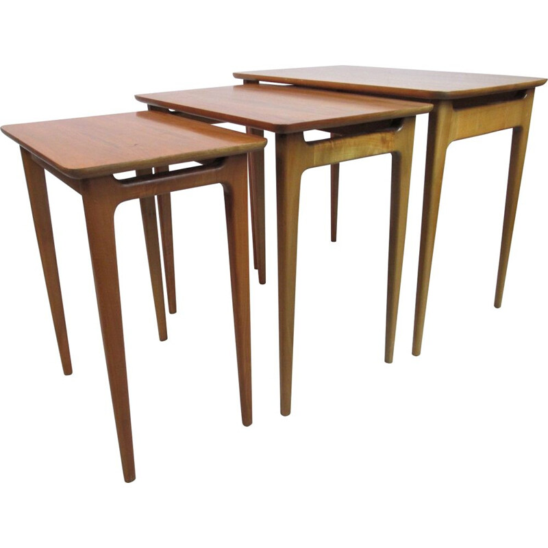 Set of 3 vintage coffee tables, Lotos, Germany, 1960s