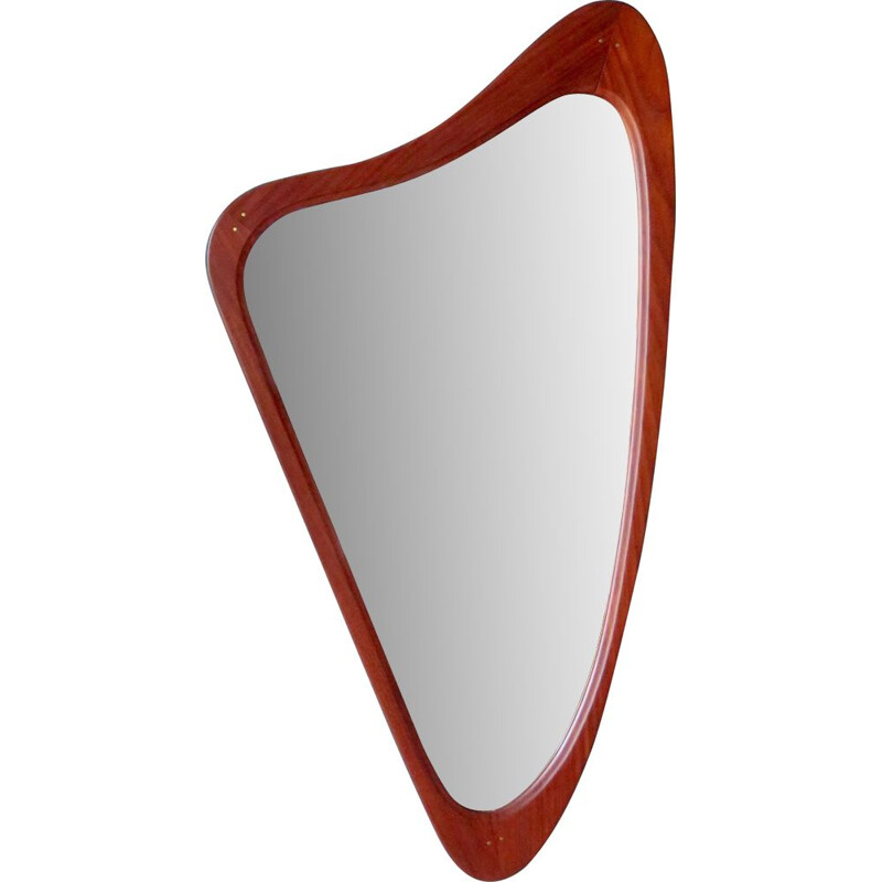 Vintage triangular mirror in Teck. Denmark 1960
