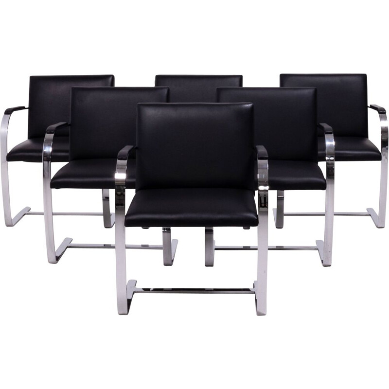 Set of 6 vintage black chairs by Mies van der Rohe,  Knoll