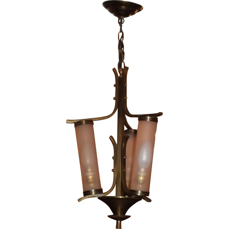 Vintage petitot chandelier with 3 glass tubes and brass, 1950s
