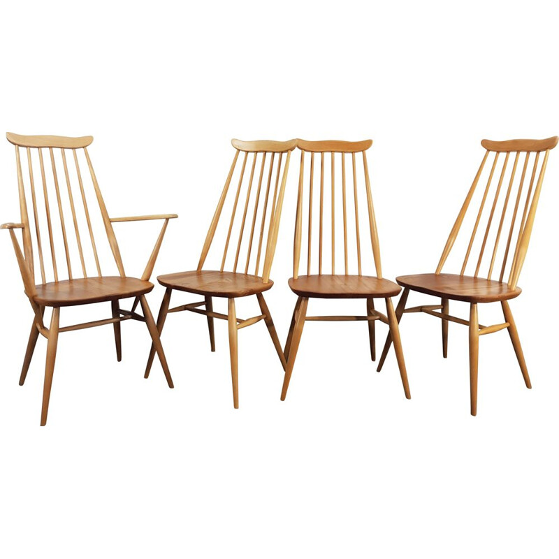 Set of 4 vintage Goldsmith elm and beech dining chairs, by Lucian Ercolani for Ercol, 1960s