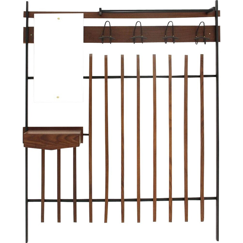 Vintage coat rack with mirror and drawer, 1960s