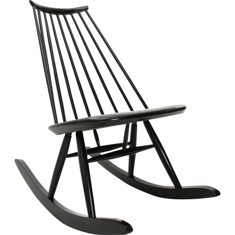 "Vintage black ""Mademoiselle"" rocking chair by Ilmari Tapiovaara for Artek, 1950s"