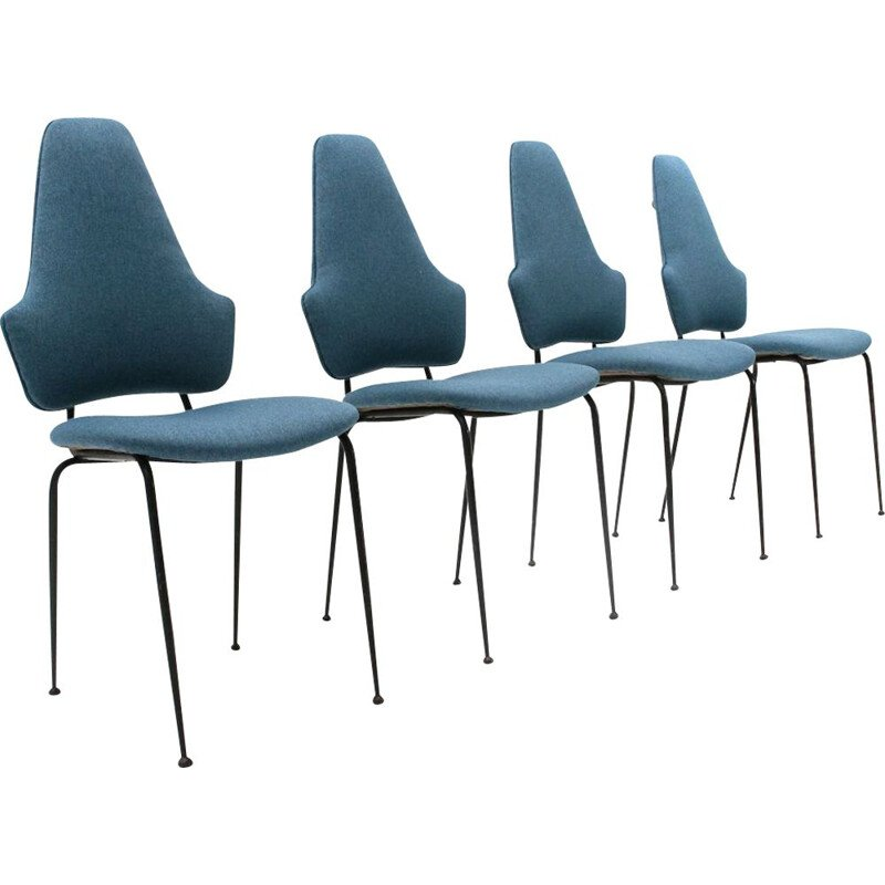 4 vintage black metal and fabric dining chairs, Italy, 1950s