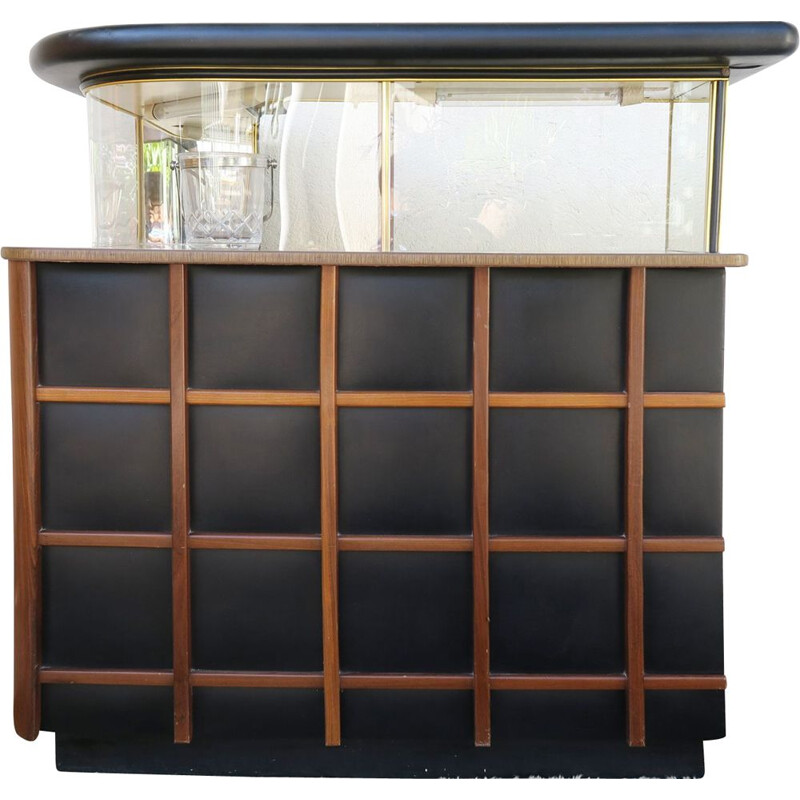 Vintage bar in leatherette and wood, 1950-60s