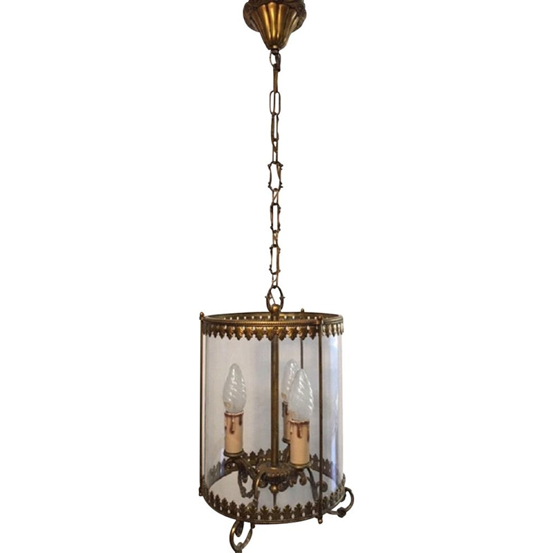 Vintage bronze and glass pendant light 3 lamps, 1950s