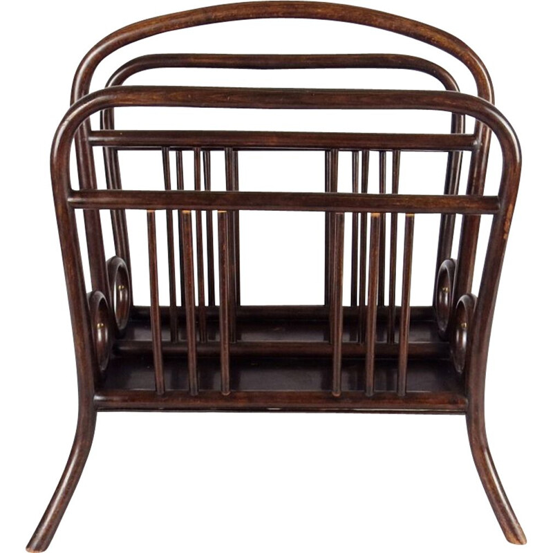 Vintage magazine rack in wood, Czechoslovakia
