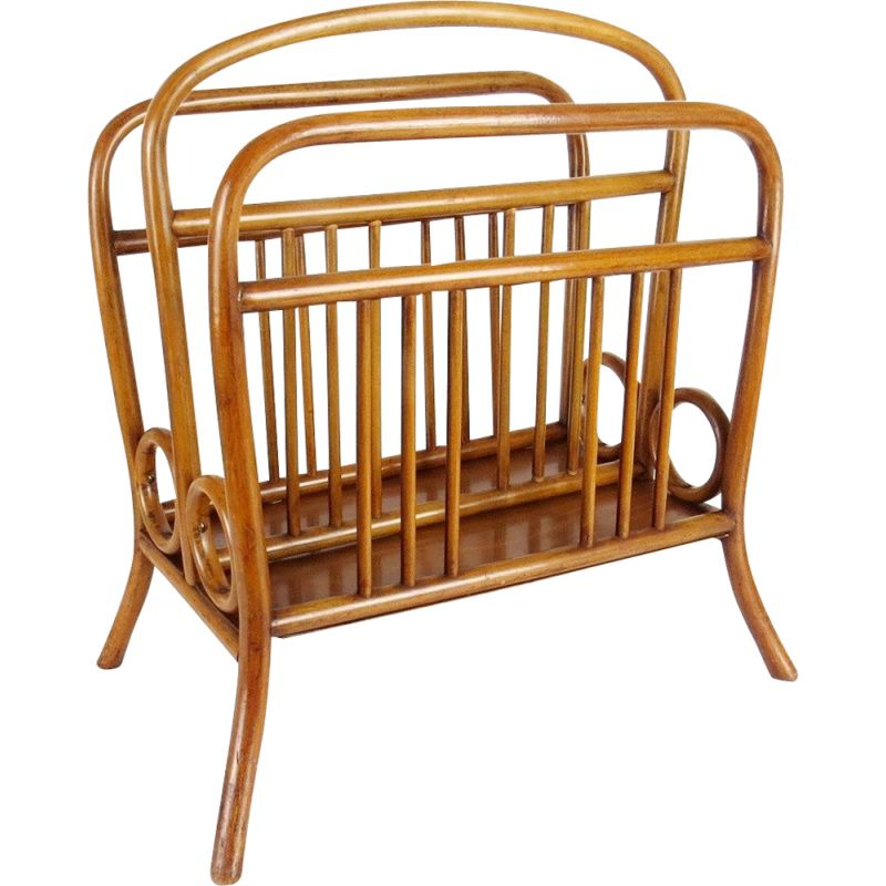 Vintage magazine rack made of light wood, Czechoslovakia