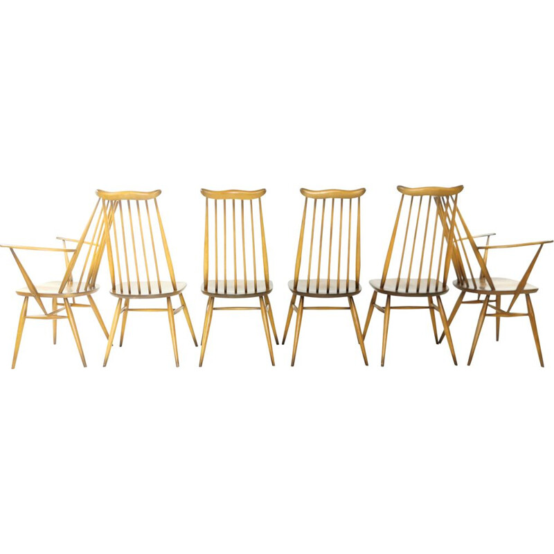 Set of 6 vintage Ercol dining chairs, 1980s