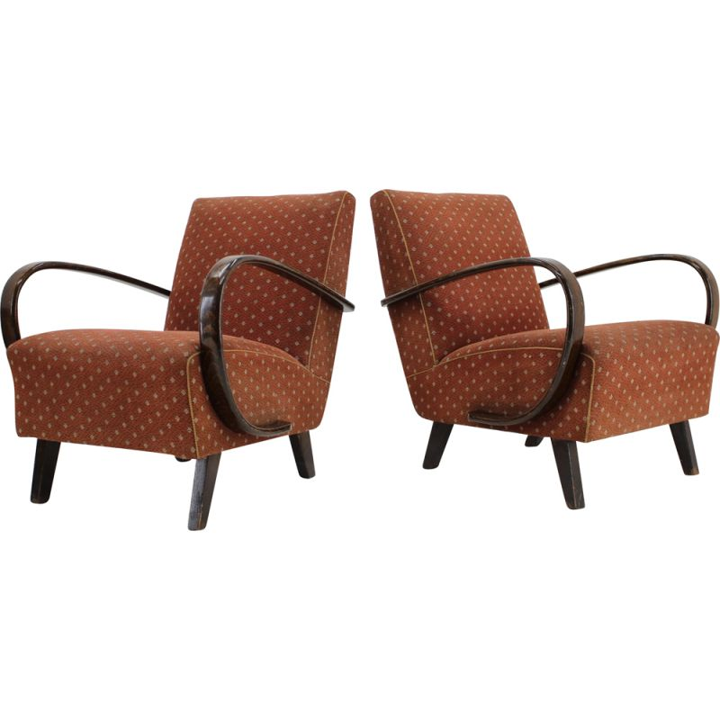 Set of 2 vintage Armchairs by Jindrich Halabala 1950s