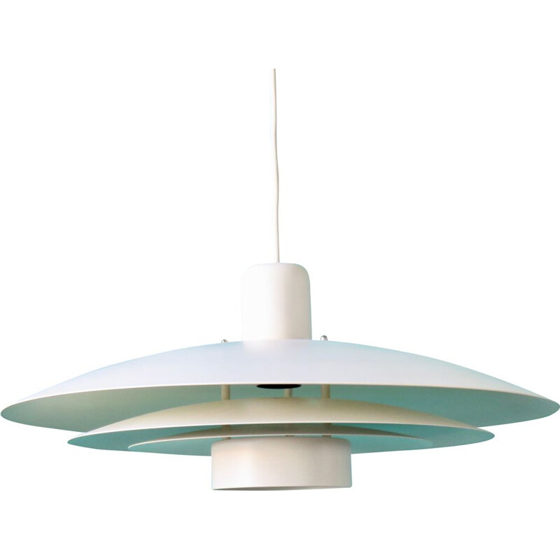Vintage white lacquered metalwall lamp, Denmark, 1970s