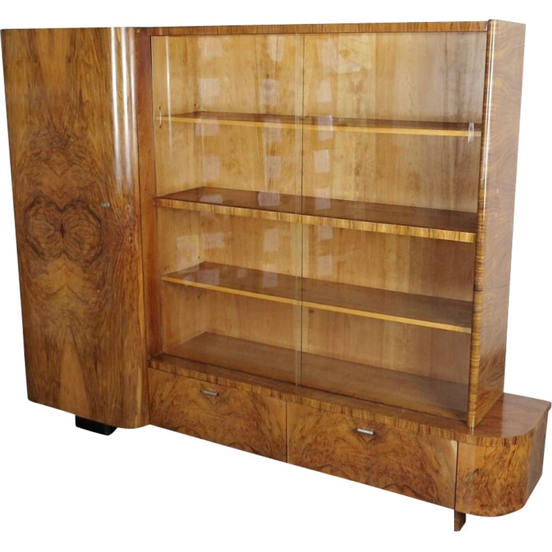Vintage Art deco Bookcase in wood by Jindrich Halabala 1930s