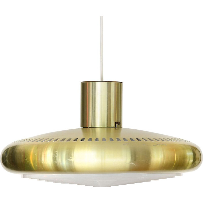 Vintage pendant light TL 21 in gold aluminium 1960