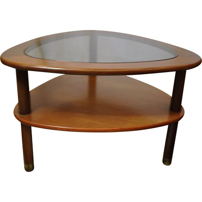 Vintage walnut wood and glass english coffee table 1970