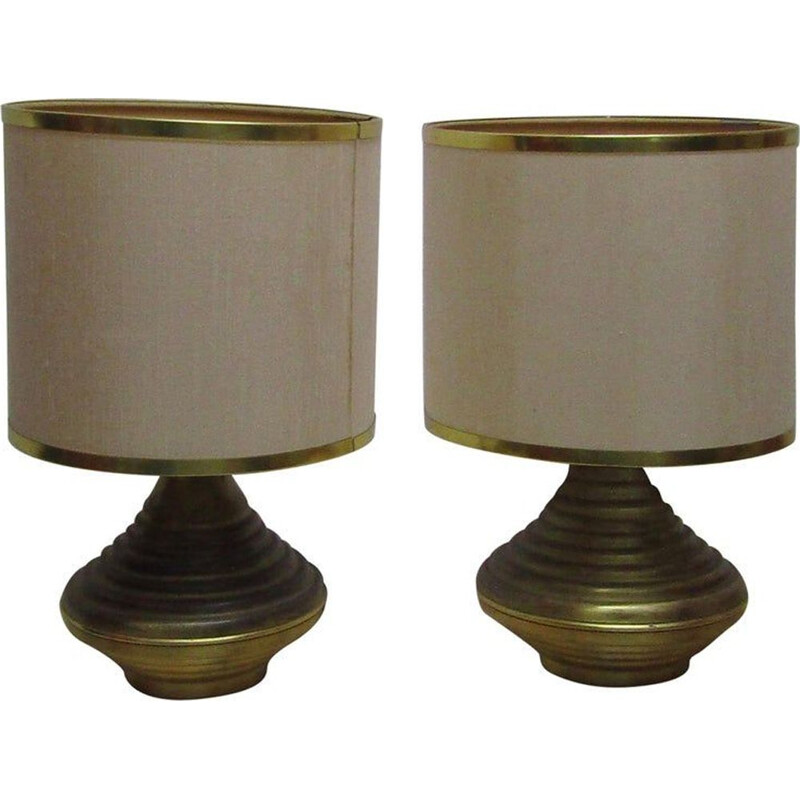 Set of 2 vintage table lamps in antique brass