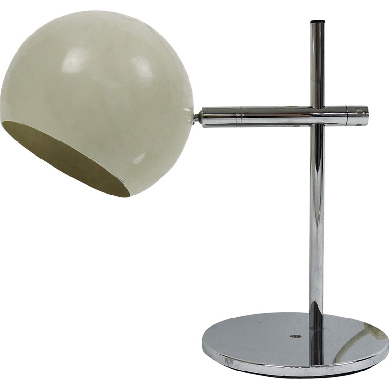 Vintage spherical cream desk lamp, 1960s