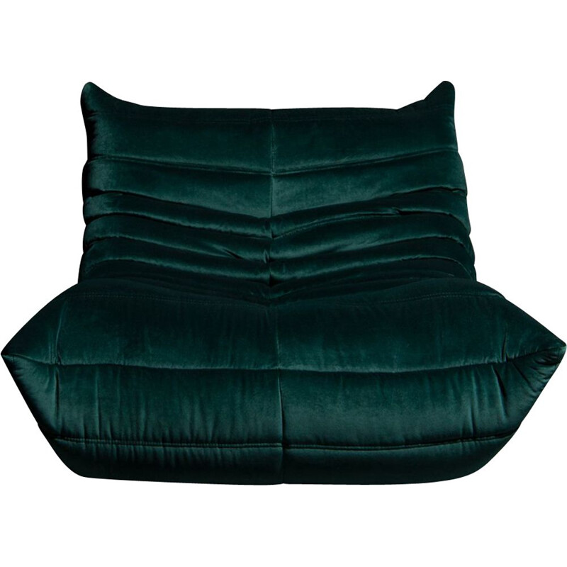 "Vintage ""Togo"" 1-seater sofa in dark green velvet by Michel Ducaroy for Ligne Roset"