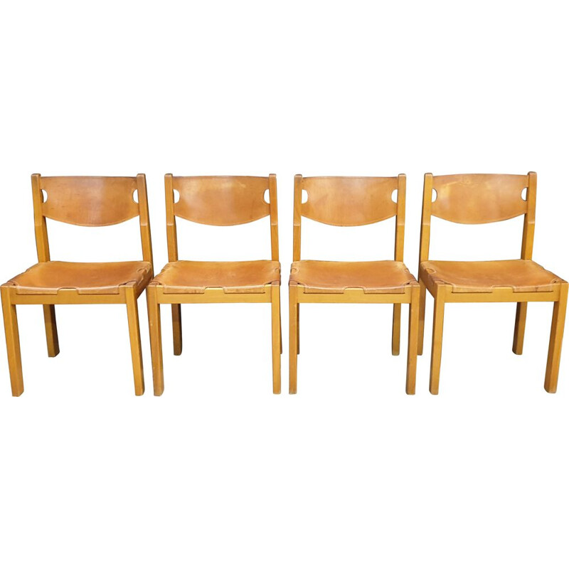 Set of 4 vintage chairs in elm and leather by Maison Regain, 1960s