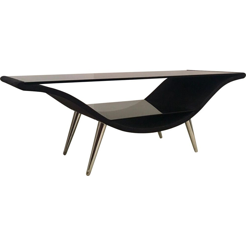 Vintage table in black felt and glass, 1980s