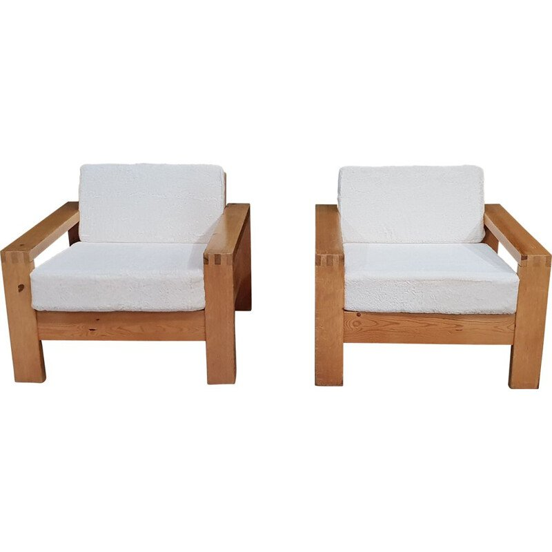 Set of 2 vintage Asko oak armchairs