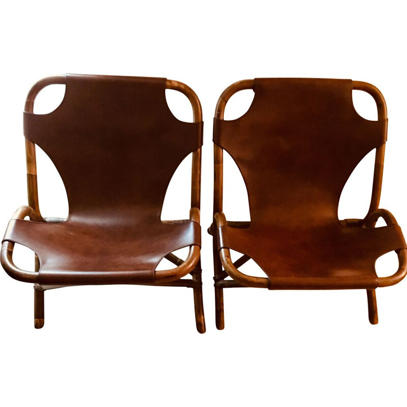 Set of 2 vintage leather and bamboo low chairs, 1960s