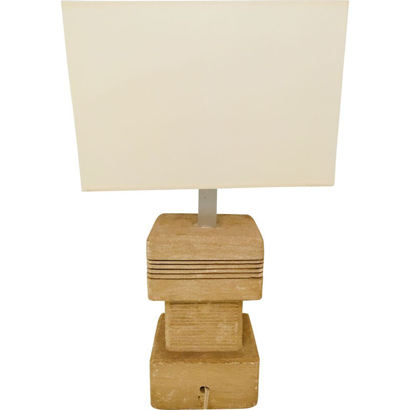 "Vintage stone table lamp ""Sculpture"" square, 1970s"