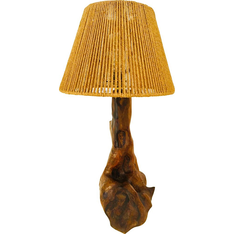 "Vintage ""Brutaliste"" wooden and rope table lamp, 1960s"