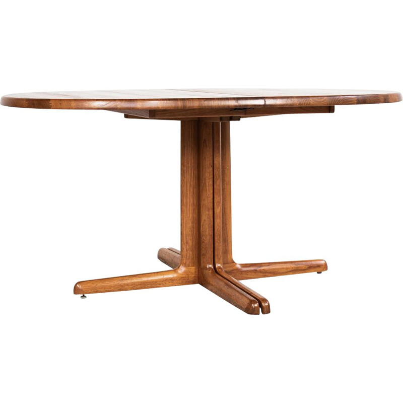 Vintage large Danish oval table in teak with 2 extensions 1960