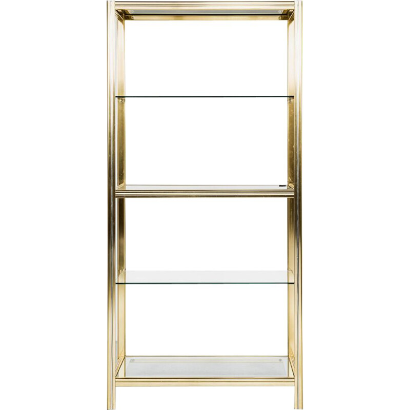 Vintage Italian glass and brass shelf by Renato Zevi 1970