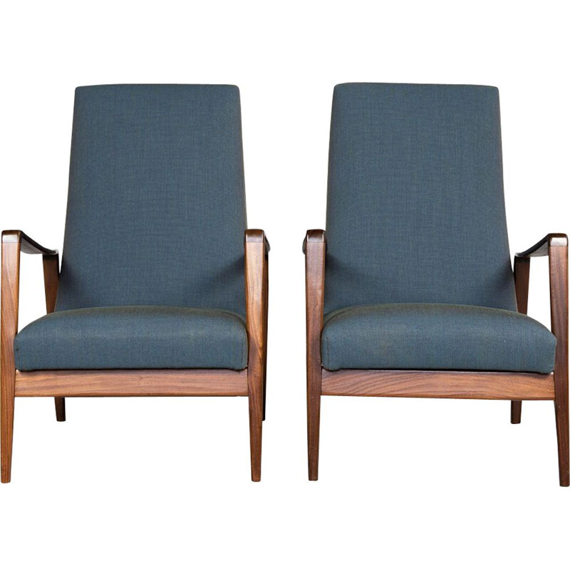 Pair vintage of easy chairs in teak by Arne Wahl Iversen with new fabric by Kvadrat 1960